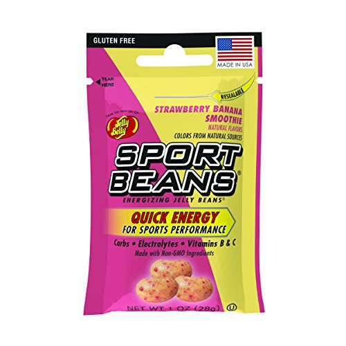 Jelly Belly Sport Beans, Energizing Jelly Beans, Strawberry Banana Smoothie Flavor, 24 Pack, 1-oz ()