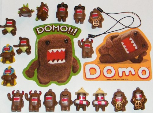 Domo Figure Party Favors Decorations Set of 20 Fun Figurines, Danglers and Stickers