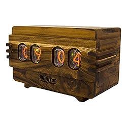 The Unique Nixie Vacuum Tube Alarm Clock | A Retro Wooden Desk Cool Clock | An Unusual Decorative Vintage Wood Clock Wedding or Anniversary Gift | Nixy Volta