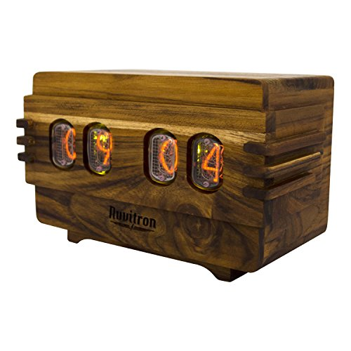 The Unique Nixie Clock | Vacuum Tube Alarm Clock | A Retro Wooden Desk Cool Clock | An Unusual Decorative Vintage Wood Clock Wedding or Anniversary Gift | Nixy Volta