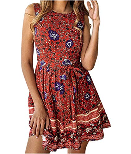 (FORUU Mother's Day Teen Girls Under 5 Surprise Best Gift for Girlfriend Lover Wife 2019 Spring Summer Women's Spring and Summer Fashion Casual Printed Zipper Round Neck Female Dress)