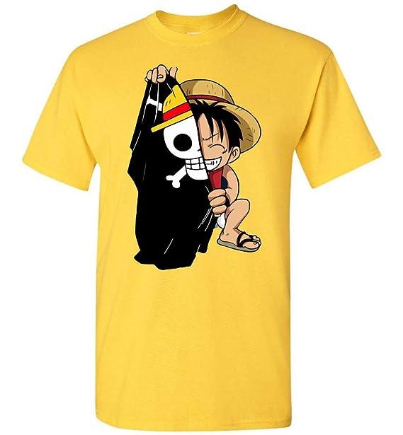 04188e471 Amazon.com: Monkey D Luffy Flag One Piece Anime T-Shirt: Clothing