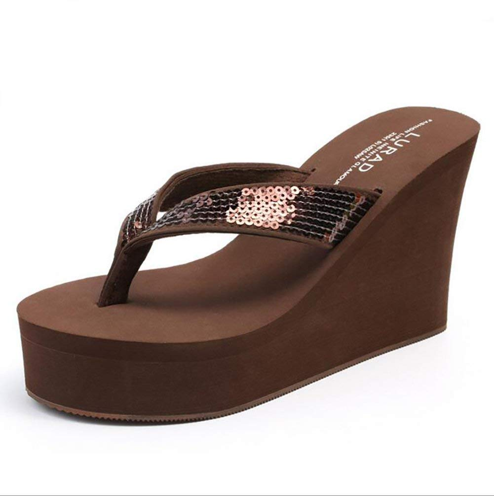 Oudan Oudan Oudan Damen Flip Flops Sommer Keil Sandalen High Heels Gemütlich Dicker Boden Mode Slipper,braun,37 (Farbe   Braun, Größe   39) e2249c