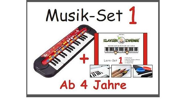 Conjunto de música 1: Niños teclado Simba? + Piano empequeñece Conjunto de Aprendizaje 1 (lápices de colores, pegatinas número, 2 pulseras de ...