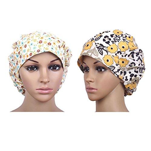 QiaTi Women Scrub Cap With Sweatband Adjustable Hat Print Bouffant (2Pcs #1)