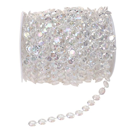 KUPOO 99 ft Clear Crystal Like Beads by the roll - Wedding Decorations - Beaded Crystal Bead