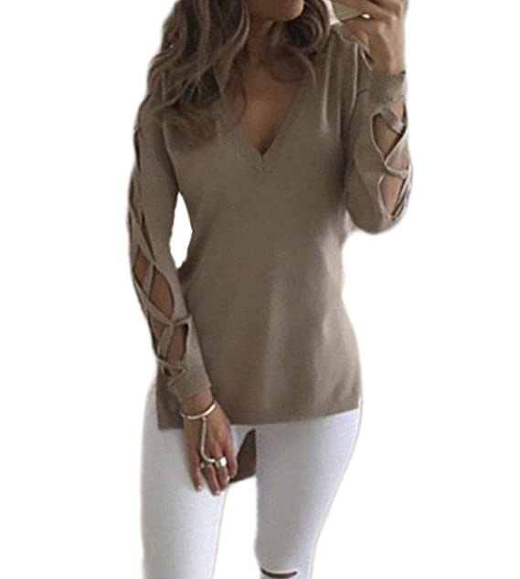 524157348cd1eb Fanmay Damen T-shirt Unique Hollow Langarm V-Ausschnitt Vorne Kurz Hinten  Lang Schlank Top Tops Langshirt Shirts Oberteil Pullover Bluse  Amazon.de   ...