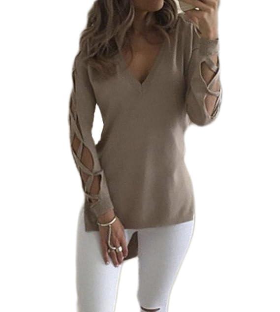 4c7c777793d80d Fanmay Damen T-shirt Unique Hollow Langarm V-Ausschnitt Vorne Kurz Hinten  Lang Schlank Top Tops Langshirt Shirts Oberteil Pullover Bluse  Amazon.de   ...