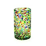 Bambeco Confetti Design Hand-Crafted Blown Recycled Glass 16-ounce Pint Glass