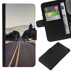 YiPhone /// Tirón de la caja Cartera de cuero con ranuras para tarjetas - Vaciar la carretera EE.UU. - Sony Xperia Z1 L39