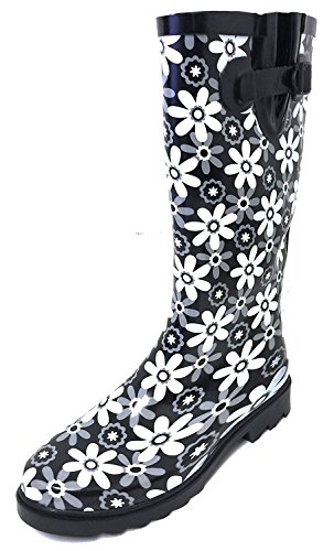 G4U Women's Rain Boots Multiple Styles Color Mid Calf Wellies Buckle Fashion Rubber Knee High Snow Shoes (10 B(M) US, Black/White Flowers)