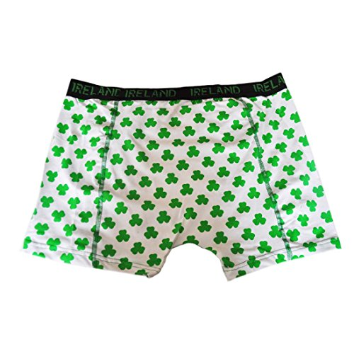 (Mens St. Patrick's Day Ireland Boxer Shorts With Green Shamrock Design, White Colour )