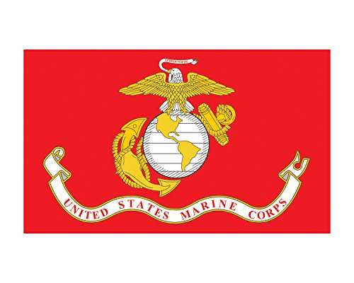 Flag Marine Decal Corps (Marine Corps Flag USMC Vinyl Decal Sticker for Cars Trucks Laptops etc.3x5 (Red))