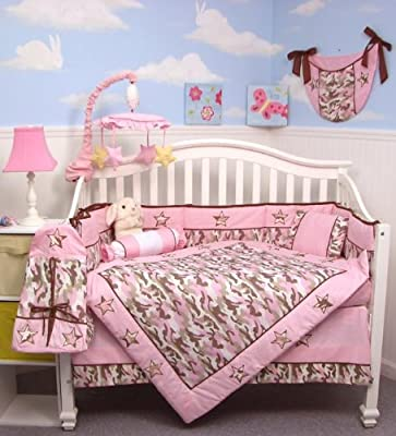 Soho Pink Camo Baby Crib Nursery Bedding Set 13 Pcs Included Diaper Bag With Changing Pad Bottle Case by SoHo Designs