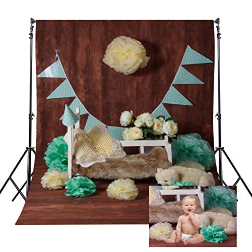 (Riyidecor Baby Cot Backdrop Paper Flower Photography Background Brown Wooden Wall 5x7ft Decoration Celebration Props Party Photo Shoot Backdrop Blush Vinyl Cloth)