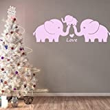 MAFENT Cute Elephant Family With Hearts Wall Decals Baby Nursery Decor Kids Room Wall Stickers (Small, Pink)