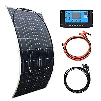 XINPUGUANG 100W Flexible Solar Panel 12V System kit Solar Cells Solar Panel 10A Controller 3M Cables with Alligator Clip 3M MC4 Connector Cables for Yacht, Boat, RV, Cabin, 12v Battery Charge