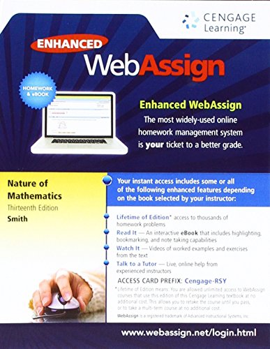 WebAssign Printed Access Card for Smith's Nature of Mathematics, 13th Edition, Single-Term
