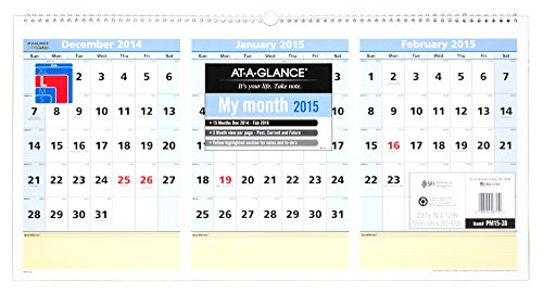 (AT-A-GLANCE PM1528 QuickNotes Three-Month Wall Calendar, Horizontal Format, 23 1/2 x 12, 2015-2017 )