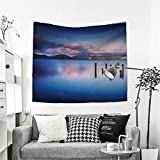 RuppertTextile Nature Wall Hanging Tapestries Wooden Pier Tops Remain in Lake with Sunset Mirror Image Out Different Perspectives Home Decorations for Living Room Bedroom 63W x 63L Inch Royal Blue