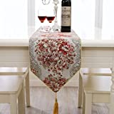 Long Dining Table BlueTop Classic Luxury Elegant Embroidery European Style Tassel Dining Manual Table Runners Sequined Lace with Flower Hotel Bed Coffee Dining Table Runners (Red , 98
