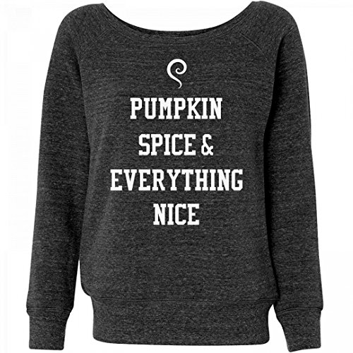 Customized Girl Pumpkin Spice Is Nice: Ladies Triblend Wideneck Sweatshirt (Pumpkin Kids Sweatshirt)