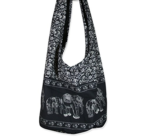Hippie Elephant Sling Crossbody Bag Shoulder Bag Purse Thai Top Zip Handmade New Color Black