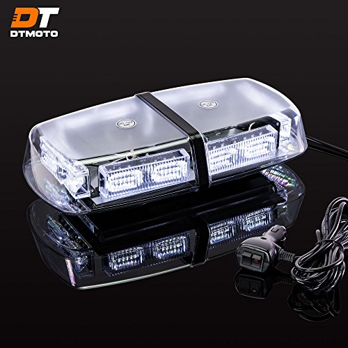 12 36-Watt LED Mini Light Bar w/ 17 Modes, IP66 Waterproof and Magnetic Mount - White Warning Strobe Light Bars for Hazard, Emergency, Snow Plow Vehicles