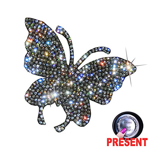 U&M Crystal Car Decal Auto Car Emblem Sticker Decoration Bling Bling Interior Accessories for Women (Butterfly)