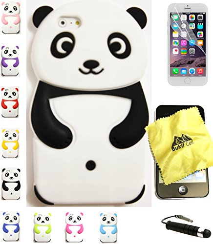 Bukit Cell Bundle 4 Items: Black 3D Panda Soft Silicone Animal Case for 4.7 Inch Iphone 6s / Iphone 6 [ NOT for Iphone 6 plus ]+ Cleaning Cloth + Screen Protector + Metallic Stylus Touch Pen