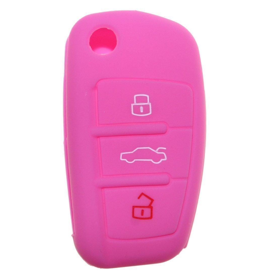 Silicona Key Cover Case Carcasa Seat Llave de llave fija (con aislamiento funda para klapps chlu Essel Carcasa Llave para llaves 3 botones for Audi 1pc color rosa tuqiang TQ-32115