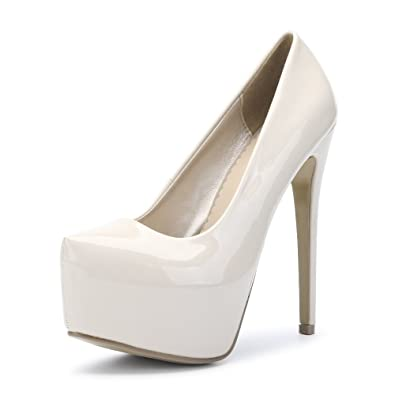 16cb8b1c0 OCHENTA Womens Hidden Platform Stiletto Heels Pump Club Shoes Beige EU Size  35 - US B
