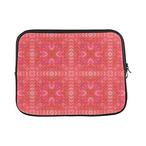 Design Custom Triangle Mosaic Red Pattern Mirror Symmetrical Sleeve Soft Laptop Case Bag Pouch Skin for MacBook Air 11