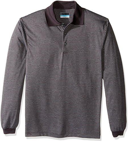 PGA TOUR Men's Golf Performance Long Sleeve Heather Stripe Polo (Long Sleeve Golf Shirt)