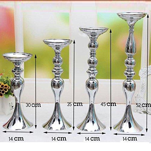 Anlin, 2 soportes de metal plateado para velas de 30 35 45 50 cm, decoración de bodas, romántica, para centro de mesa,...