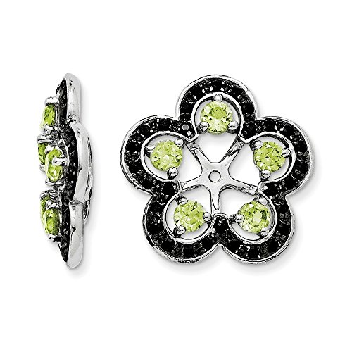 Sterling Silver Peridot & Black Sapphire Earring Jacket by CoutureJewelers