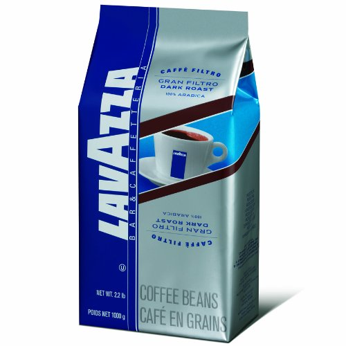 Lavazza Gran Filtro Whole Bean Coffee Blend, Dark Roast, 2.2-Pound Bags (Pack of 2)