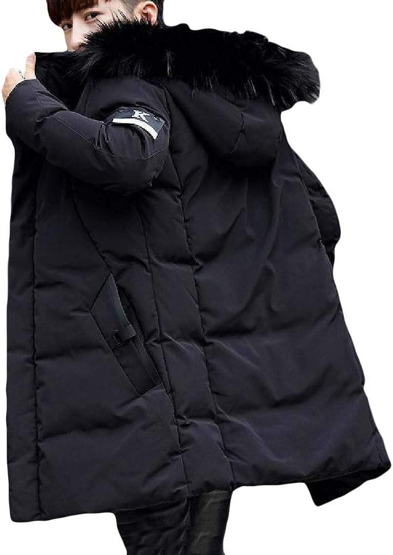 YUNY Mens Slim Fit Fur Collar Mid-Long Hoode Zip-Up Winter Overcoat Black 3XL