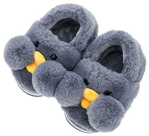 UIESUN Cute Duck Unisex Toddler Kids Slippers Shoes for Boys Girls House Slipper Dark Gray 18/19 ()