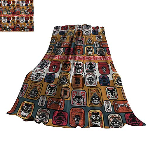 RenteriaDecor Primitive,Fashion Warm All Season Blanket Native American Style Mayan Face Mask in Different Expressions Universal Totem Throw Rug Sofa Bedding 50