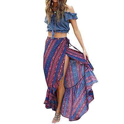 New Ezcosplay Women's High Waist Boho Split Loose Wrap Summer Beach Long Maxi Skirt