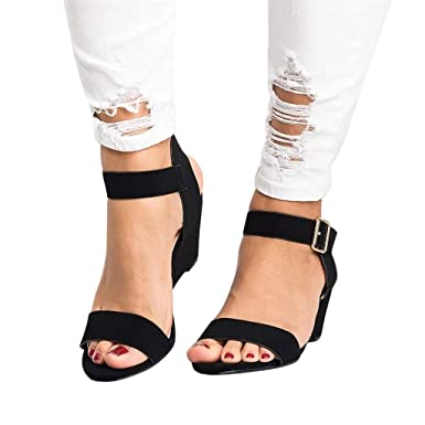 7b9bcb79bf9 Memela Women s Sandals Ankle Strap Buckle Mid Wedge Platform Heeled Sandals  Dress Pump Shoes (Black