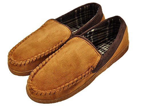 MIXIN Mens Casual Pile Lined Indoor Outdoor Rubber Sole Micro Suede Moccasin Flats Slippers Khaki and Brown 2sLdIDAi