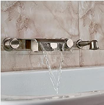 GOWE Luxury Waterfall Spout Wall Mounted Bathtub Tub Faucet with