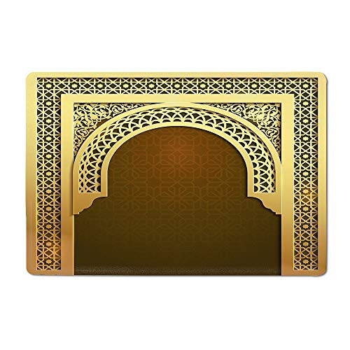 32 Decorative Door Arch - Moroccan Yoga mat Middle Eastern Ramadan Greeting Scroll Arch Figure Celebration Holy Eid Theme Kitchen mat Golden Brown 16