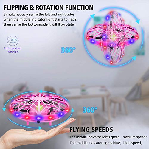 UTTORAUFO Mini Drone for Kids UFO Drone Toys Hand Controlled Induction Levitation Rechargeable Flying Toy with LED Indicator Kids Flying Ball Drone Toys for Girls Boys