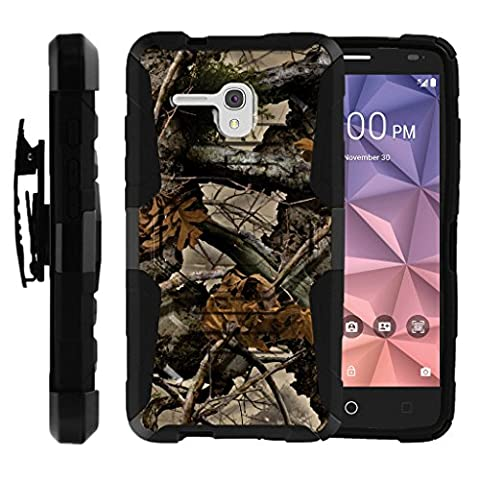 TurtleArmor | Alcatel One Touch Fierce XL Case | Alcatel Flint Case [Octo Guard] Dual Layer Case Holster Belt Clip Sturdy Kickstand Cover - Tree Leaves - Camo Cell Phone Cover