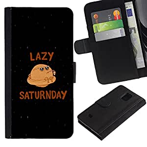 All Phone Most Case / Oferta Especial Cáscara Funda de cuero Monedero Cubierta de proteccion Caso / Wallet Case for Samsung Galaxy S5 Mini, SM-G800 // Saturn Funny Planet Caricature Lazy Saturday Quote