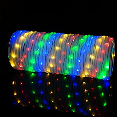 33ft/10m 136 LED Weatherproof Tube Fairy String Lights LED Rope Lights 4 Color Light with RF Remote Controller, Ideal for Yard,Garden,Pool,Patio,Deck,Fence,Landscape,Grass, Christmas