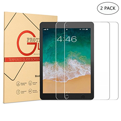 DUNNO New iPad 9.7-Inch Screen Protector 2017/2018, Ultra Thin 9H HD Tempered Glass Screen Protector for Apple iPad Air/Air 2,iPad Pro 9.7(2016)/New iPad 9.7 (2017/2018) - Clear (2-Pack)